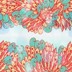 Fototapeta na wymiar Hand drawn seamless pink and blue invitation card design with swirls