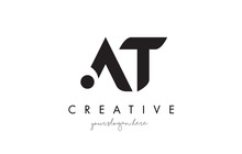 AT Letter Logo Design With Creative Modern Trendy Typography.