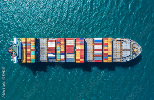 container ship in import export and business logistic Fototapet