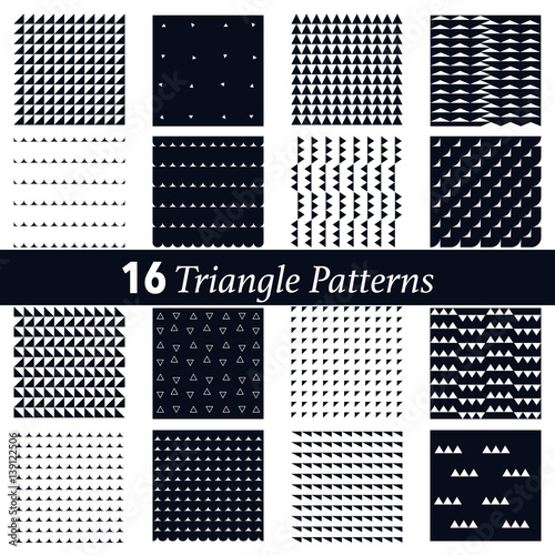 Poster Artificiel set of 16 triangle pattern background