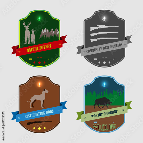 Set of four stickers for hunters Poster