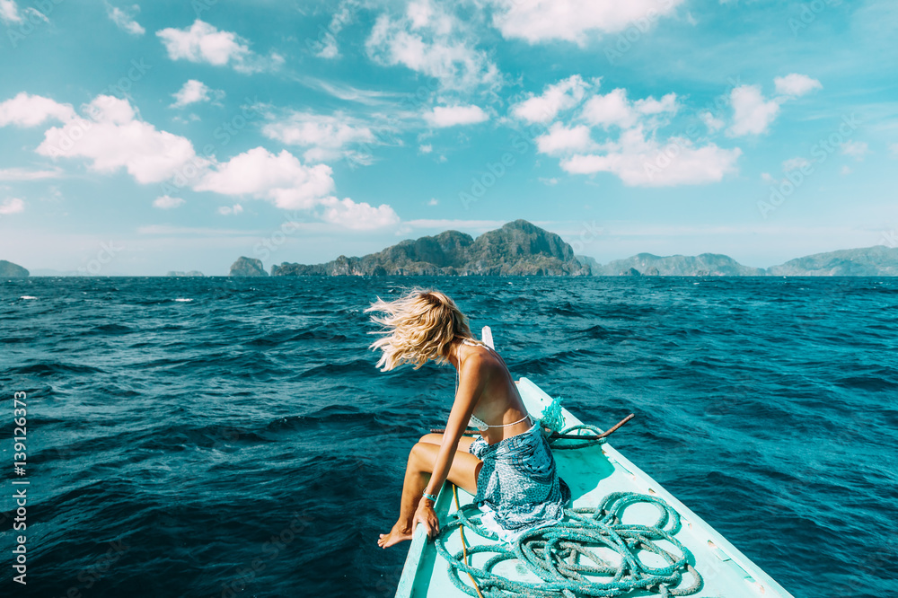 Fototapety, obrazy: Woman travelling on the boat in Asia