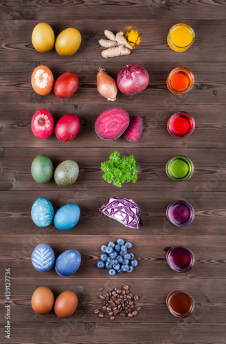 Fotografie, Obraz  Ostereier natürlich färben mit natürlicher Farbe aus Zutaten Kurkuma, Zwiebeln,