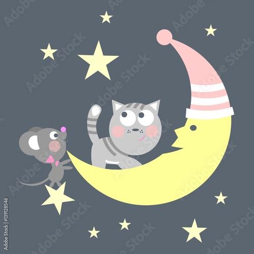 bajkowa-ilustracja-kot-i-mysz-na-ksiezycu-posrod-gwiazd