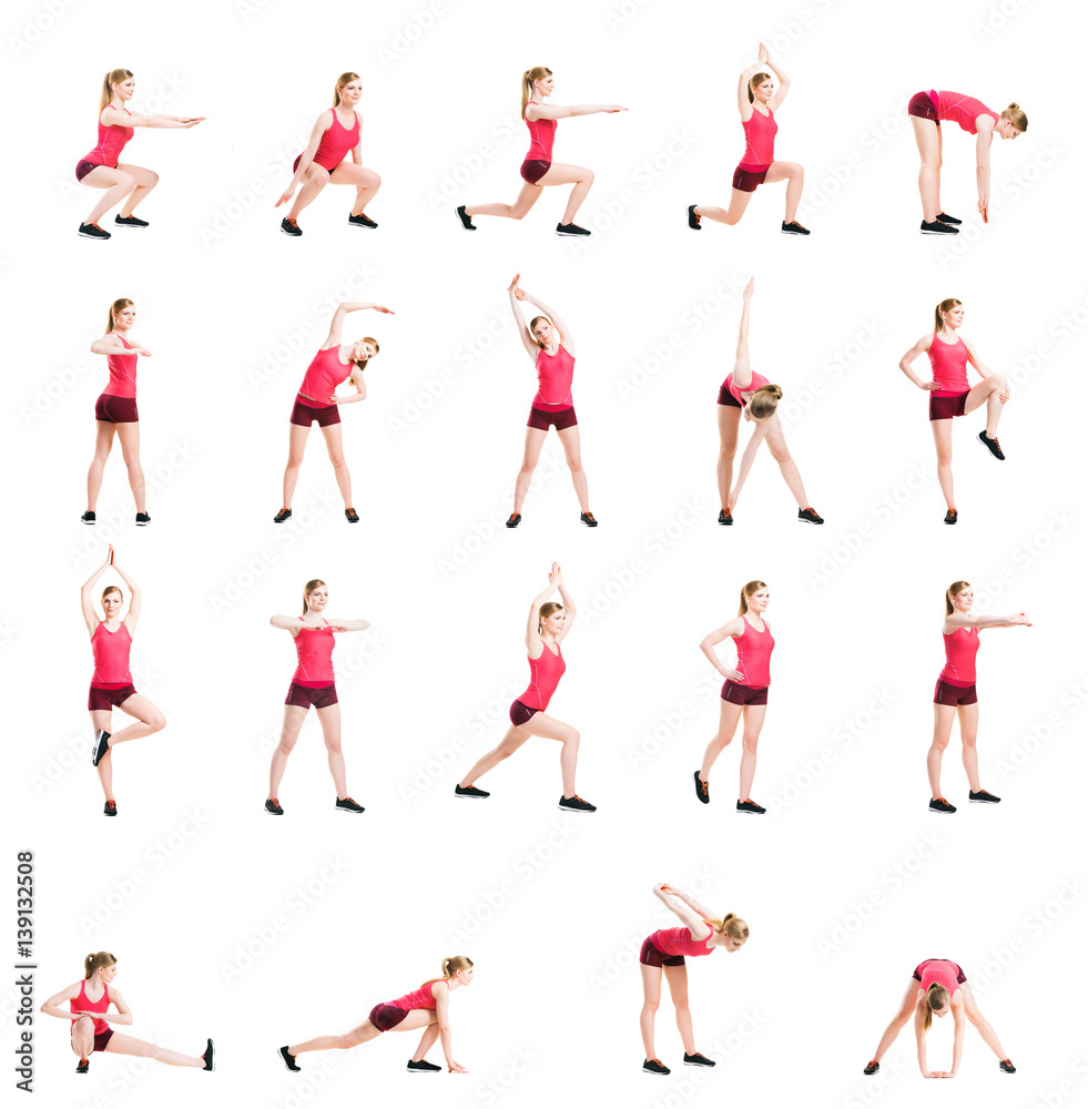 Fototapety, obrazy: Fit, healthy and sporty woman in sportswear making physical exercises isolated on white. Set collection.