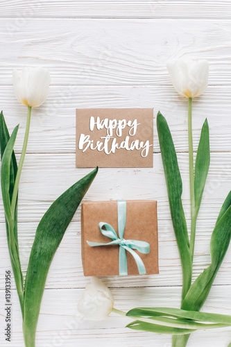 happy birthday text sign on greeting card template with stylish