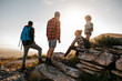 canvas print picture - Group of hikers on top of hill and enjoying view