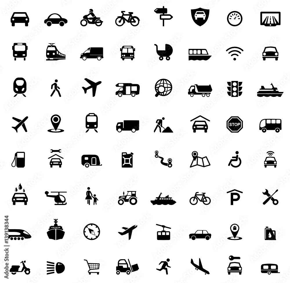 Fototapeta Icons Traffic and Mobility
