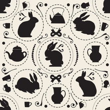 Seamless Monochrome Vintage Pattern Background With Rabbit And Teapot , Wonderland Theme
