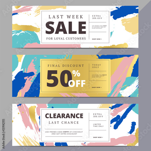 Creative Luxury Abstract Social Media Web Banners For Website Header Or Newsletter Ad Email Promotion