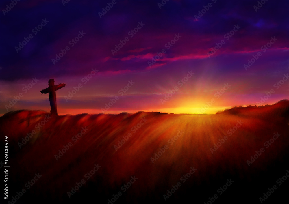 Foto  Cross on a hill at dawn
