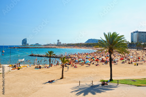 Photo sur Aluminium Barcelone View of Barcelona beach