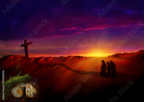 Cross on a hill at dawn, with empty tomb in a garden Poster