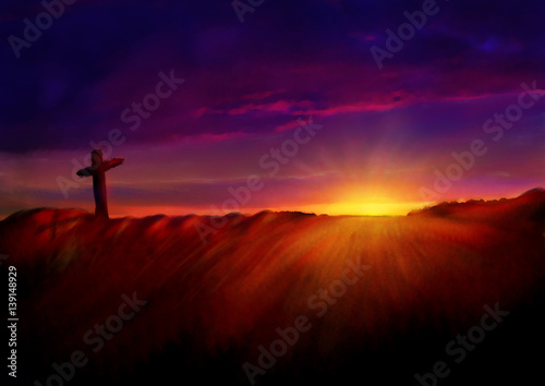 Fotografie, Obraz  Cross on a hill at dawn