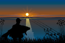 Silhouette Of Fisherman With C...