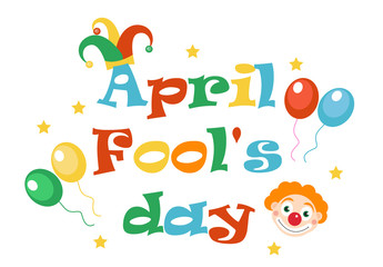 April Fools' Day vector. Holiday laughing card, poster. Vector illustration