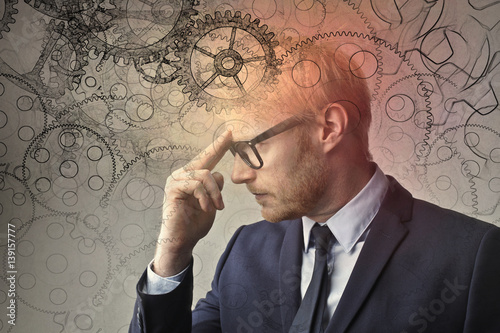Fototapeta Concentrated businessman