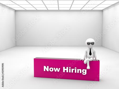 Foto op Canvas Licht, schaduw 3D render of a man sitting on a block titled Now Hiring. Human Resources concept.