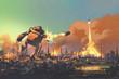 Leinwanddruck Bild - the giant robot launching rocket punch destroy the city,illustration painting