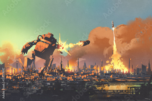 Foto op Aluminium Grandfailure the giant robot launching rocket punch destroy the city,illustration painting