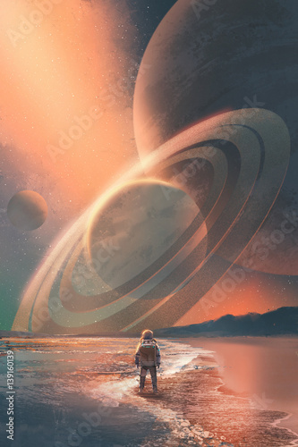 Foto op Aluminium Grandfailure the astronaut standing on the beach looking at planets in the sky,illustration painting