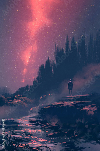 man standing on the rock with waterfall looking at the night sky,illustration painting