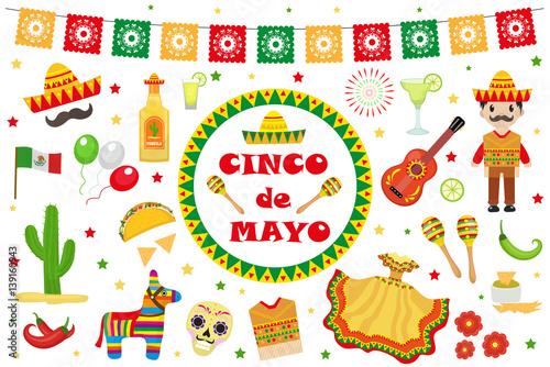 Fotografía  Cinco de Mayo celebration in Mexico, icons set, design element, flat style