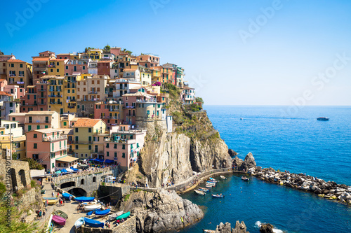 In de dag Mediterraans Europa Manarola in Cinque Terre, Italy - July 2016 - The most eye-catching of Cinque Terre towns