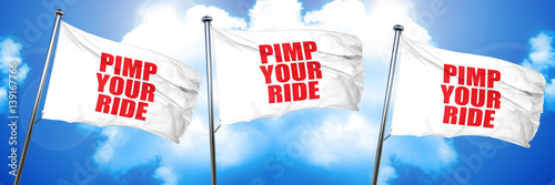 pimp your ride, 3D rendering, triple flags Fototapet