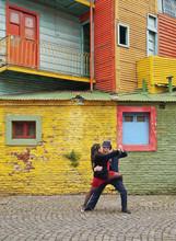 Couple Dancing Tango On Caminito Street, La Boca, Buenos Aires, Buenos Aires Province, Argentina