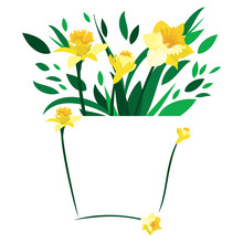 Few Daffodils And Leaves Set On An Abstract Blank Vase On An Isolated White Background