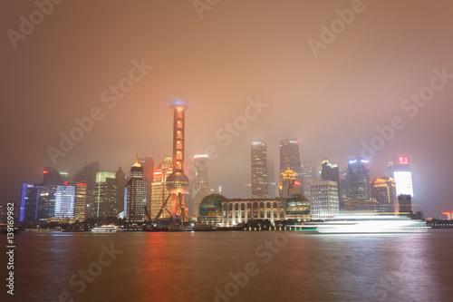 Twilight Shot With The Shanghai Skyline And The Huangpu River China