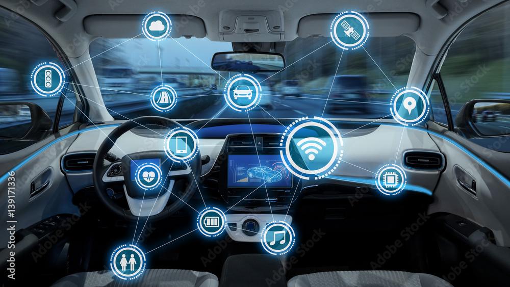 Fototapeta intelligent vehicle cockpit and wireless communication network concept