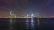 night illumination hong kong city bay panorama 4k time lapse china