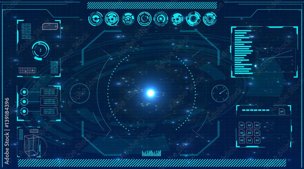Fototapety, obrazy: Radar screen. Vector illustration for your design. Technology background. Futuristic user interface. HUD.