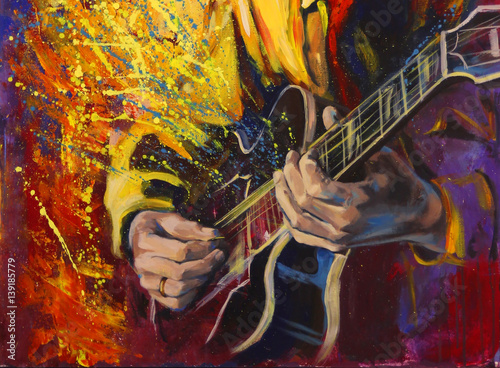 Photo  Jazz guitarists hands, playing guitar, with multicolored fantasy background