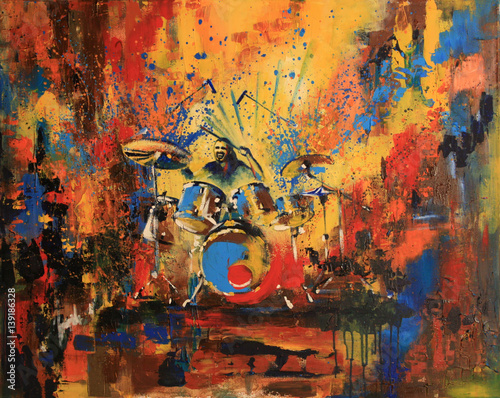 Photo  Drummer on motley multicolored background, original acrylic painting on canvas