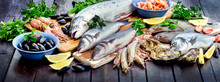 Seafood. Healthy Diet Eating Concept.