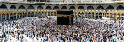 Muslims pilgrims from all around the world circumabulate (tawaf) the Kaaba at Masjidil Haram, Mecca, Saudi Arabia.