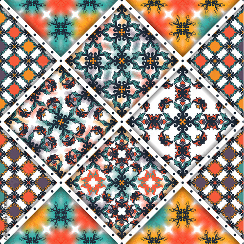 wektorowy-abstrakcjonistyczny-bezszwowy-patchworku-wzor-tekstury-arabskiej-plytki-z-ornamentami-geometrycznymi-i-kwiatowymi-stylizowane