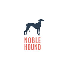 Noble Hound Abstract Vector Sign, Emblem Or Logo Template. Greyhound Dog Silhouette.