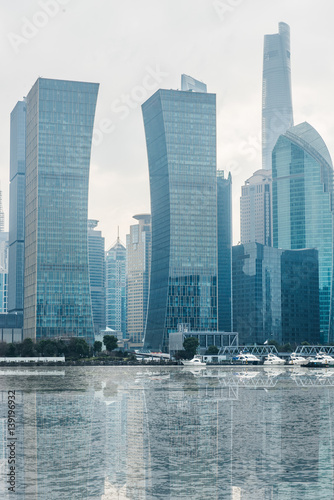 Keuken foto achterwand New York Shanghai business district in daytime,building group of China.