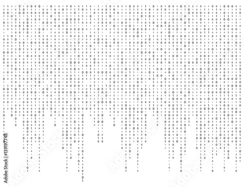 Fotografia binary code zero one matrix white background beautiful banner wallpaper