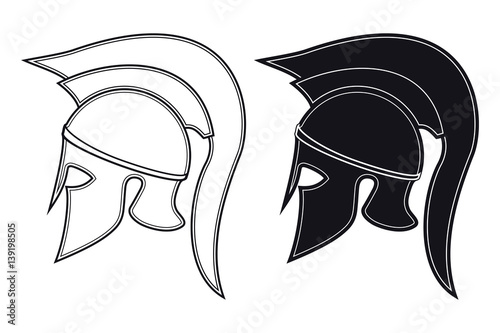 Black And White Vector Illustration Of A Side Silhouette On Ancient