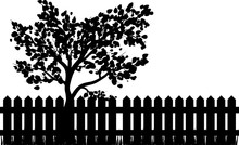 Wooden Fence With Grass And Tree Silhouette Isolated Vector Symbol Icon Design.