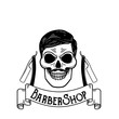 Vector Barbershop emblem, barbershop logo or badge for barber shop signboard, posters Skull with blades and hipster beard and haircut