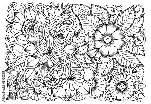 Black and white flower pattern for coloring. Doodle floral ...