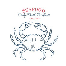 Hand Drawn Crab Icon.