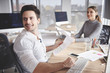 Business couple working at desk