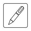 monochrome contour square with pen icon vector illustration